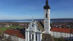 Aerial Shot of the Marienmuenster in Diessen am Ammersee Stock Footage