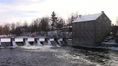 A mill in a winter scene Stock Footage
