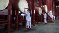 Traditional drum performance in Beijing, China Stock Footage