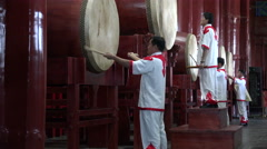 Chinese drum ceremony in Beijing, China Stock Footage