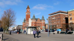 On sightseeing in the swedish town Helsingborg - walking the streets Stock Footage