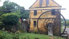 Historic German immigrant  house in Brazil with water wheel 4k front on Stock Footage
