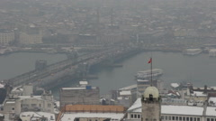 View of Istanbul and the Golden Horn from the top Stock Footage