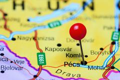 Pecs pinned on a map of Hungary - stock photo