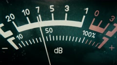 audio level meter on the old reel tape recorder, close-up - stock footage