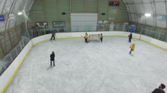 4k aerial indoor hockey shinny game - stock footage