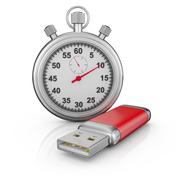 usb drive and stopwatch - stock illustration