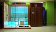 Sauna. Interior of sauna room with wooden panels and glass doors Stock Footage