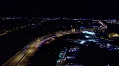 Aerial 4K Night MacAruthur Causeway in Miami, Florida Stock Footage