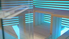 Sauna. Interior of sauna room with wooden panels Stock Footage