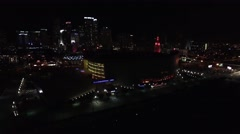 Aerial 4K Night American Airlines Arena Downtown Bayside in Miami, Florida Stock Footage