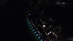 Aerial 4K Night Luxury Yacht Downtown Bayside in Miami, Florida Stock Footage