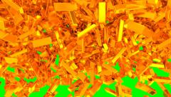 Animated rain of gold bars 2c - low angle shot in 4k Stock Footage