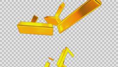 Animated rain of gold bars d - high angle shot in 4k Stock Footage