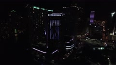 Aerial 4K Night Downtown Miami, Brickell, and Brickell Key in Miami, Florida Stock Footage