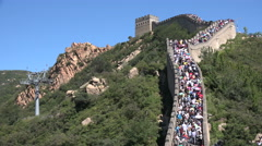 China domestic tourism, people visit Great Wall on very busy day Stock Footage