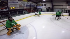 Gopro hockey helmet cam pov game action Stock Footage