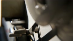 the tape drive mechanism, tape recorder bobbin, close-up - stock footage