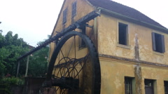 German house with water wheel 4k Stock Footage