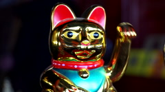 Fortune Cat waving hands Stock Footage