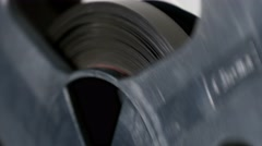 Old tape bobbin, close-up Stock Footage