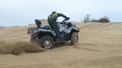 ATV Ride through the steppe, sand and terrain - stock footage