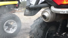 Smoke Emits from the Exhaust Pipe of ATV  Stock Footage