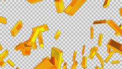 Animated rain of gold bars 2 - high angle shot in 4k Stock Footage