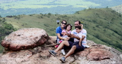 On Top of Mountain. Chapada dos Guimaraes, Brazil. Family, selfie, photo Stock Footage