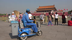 China tourism, people visit Tiananmen Square, cleaning cart drives past Stock Footage