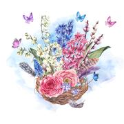 Watercolor  vintage flowers bouquet in the nest - stock illustration