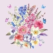 Watercolor  vintage flowers bouquet in the nest with butterflie - stock illustration