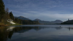 Pan view of Lake Bled Stock Footage