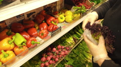 Grocery store Athens.Greengrocer at work. Stock Footage