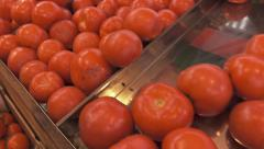 Grocery store in Athens.Tracking shot tomatoes on stand. Stock Footage