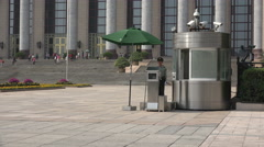 Security guard at Great Hall of the People, politics in Beijing, China - stock footage