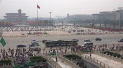 Overview of Tiananmen Square from the Gate of Heavenly Peace, Beijing, China Stock Footage
