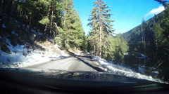 Winter Alps Mountain Road Snow Driving POV on Swiss mountain road, 4K Stock Footage