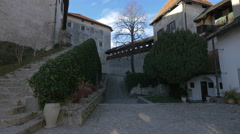 Cobblestone alley and green bushes in Bled Castle's courtyard Stock Footage