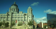 Ultra hd 4k, time lapse, the Royal Liver Buildings in Liverpool Stock Footage