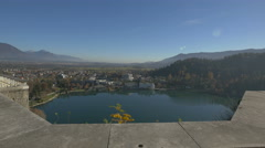 Lake Bled seen from Bled Castle Stock Footage