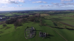 4k aerial shoot of Ireland fields and castle Stock Footage