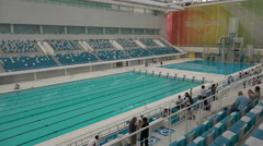 Olympic swimming pool in the Water Cube in Beijing, China Stock Footage