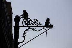 Crab Eating Macaques up street light - stock photo