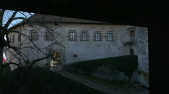 Bled castle's courtyard with old buildings seen from a balcony Stock Footage