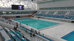 Olympic swimming pool in the Water Cube in Beijing, China - stock footage