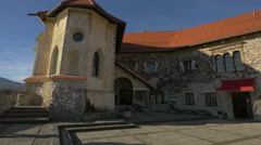 The old building with red roof of Bled Castle Stock Footage