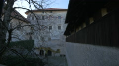 Interior courtyard of Bled Castle, Bled Stock Footage