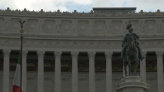 Statue of Vittorio Emanuele in front of Altare della Patria in Rome Stock Footage