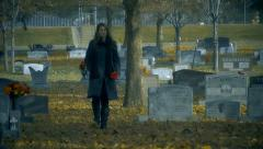 Sad Beautiful Woman Cemetery Outdoors Stock Footage